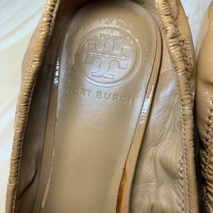 Tory Burch Shoes - Tory Burch Natural Patent Leather Eddie Wedge